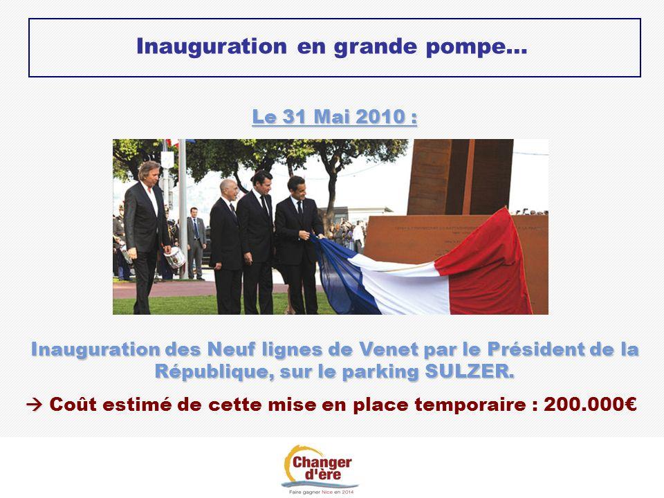 Inauguration en grande pompe… Le 31 Mai 2010 : Inauguration des Neuf lignes de Venet par le Président de la République, sur le parking SULZER. Coût es