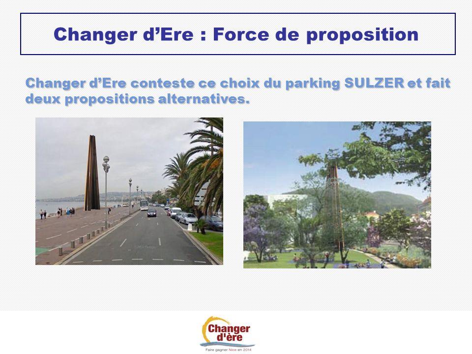 Changer dEre conteste ce choix du parking SULZER et fait deux propositions alternatives. Changer dEre : Force de proposition