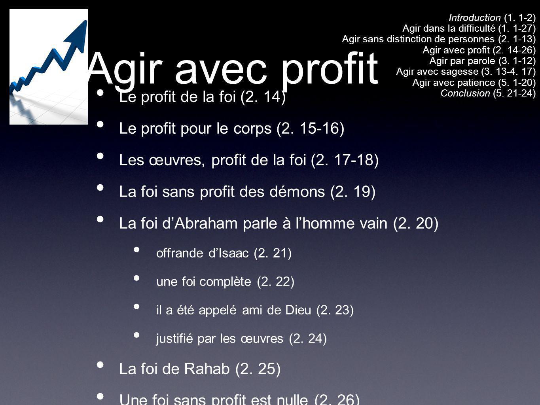 Agir avec profit Le profit de la foi (2. 14) Le profit pour le corps (2. 15-16) Les œuvres, profit de la foi (2. 17-18) La foi sans profit des démons