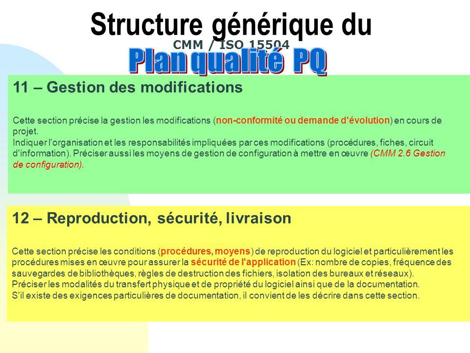 11 – Gestion des modifications Cette section précise la gestion les modifications (non-conformité ou demande d évolution) en cours de projet.