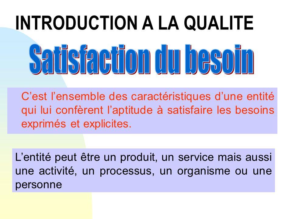 Concepts de la qualité Cest lidentification des différentes phases qui vont des besoins exprimés par le client jusquà sa satisfaction finale