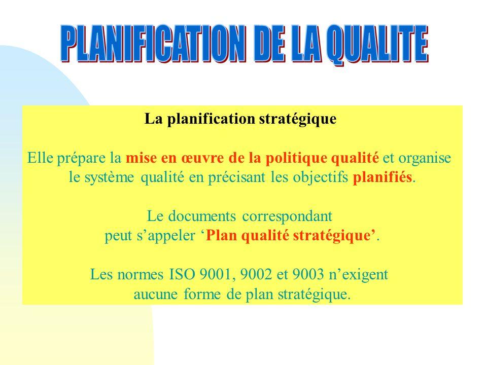 La planification stratégique Elle prépare la mise en œuvre de la politique qualité et organise le système qualité en précisant les objectifs planifiés.