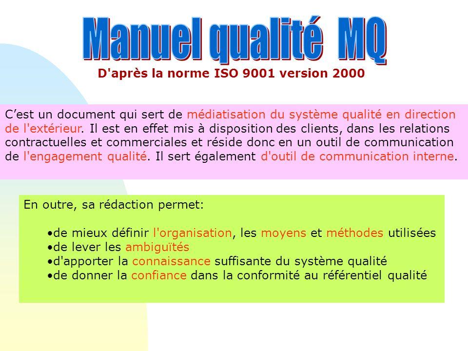 On retiendra que les différents types de documents du système qualité constituants la pyramide des documents qualité sont : Des documents dorganisation, manuel qualité (MQ), procédures organisationnelles, notes dorganisation et notes de nominations associées.