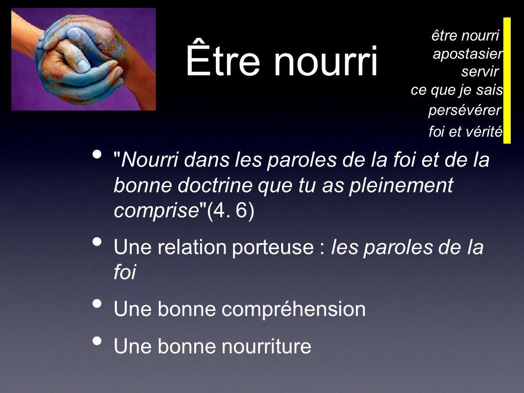 Être nourri Nourri dans les paroles de la foi et de la bonne doctrine que tu as pleinement comprise (4.