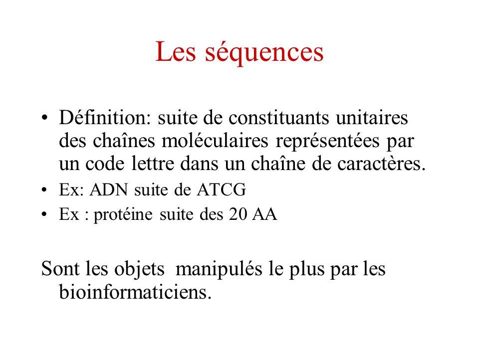Les séquences Définition: suite de constituants unitaires des chaînes moléculaires représentées par un code lettre dans un chaîne de caractères. Ex: A