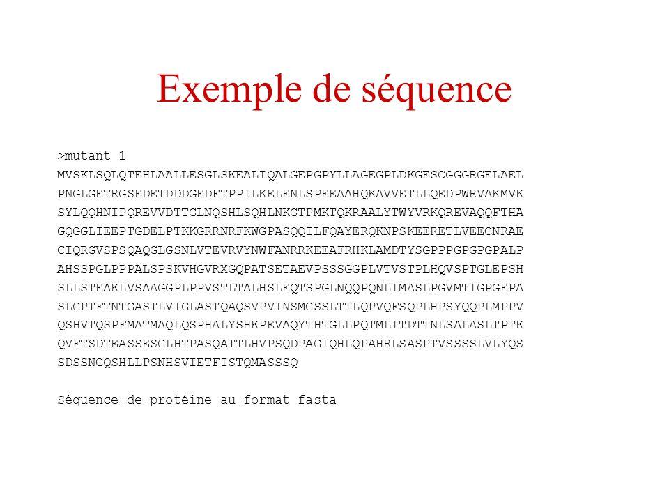 Exemple de séquence >mutant 1 MVSKLSQLQTEHLAALLESGLSKEALIQALGEPGPYLLAGEGPLDKGESCGGGRGELAEL PNGLGETRGSEDETDDDGEDFTPPILKELENLSPEEAAHQKAVVETLLQEDPWRVAKMV