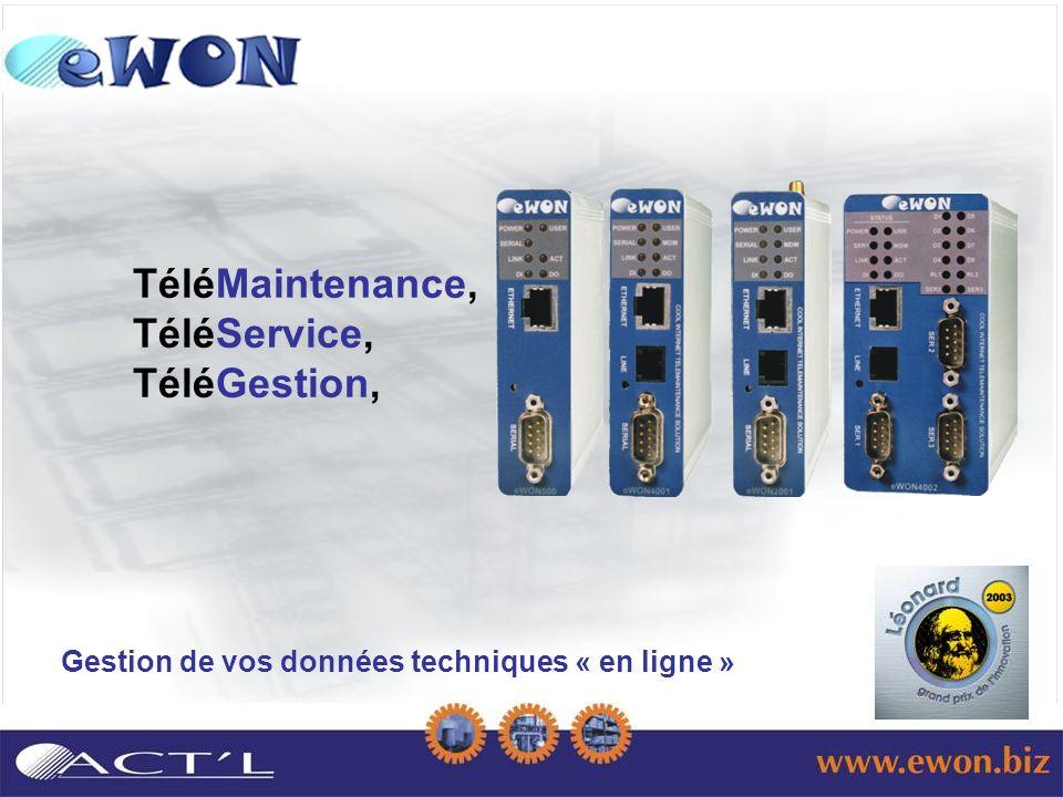 Gestion de vos données techniques « en ligne » TéléMaintenance, TéléService, TéléGestion,