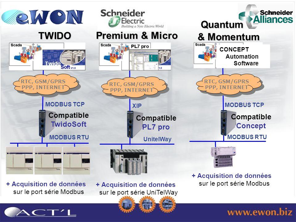 MODBUS TCP MODBUS RTU TWIDO UnitelWay XIP Premium & Micro Premium & Micro Compatible PL7 pro Compatible TwidoSoft + Acquisition de données sur le port série UniTelWay + Acquisition de données sur le port série Modbus MODBUS TCP CONCEPT Automation Software MODBUS RTU Quantum & Momentum Quantum & Momentum + Acquisition de données sur le port série Modbus Compatible Concept RTC, GSM/GPRS PPP, INTERNET RTC, GSM/GPRS PPP, INTERNET RTC, GSM/GPRS PPP, INTERNET RTC, GSM/GPRS PPP, INTERNET RTC, GSM/GPRS PPP, INTERNET RTC, GSM/GPRS PPP, INTERNET