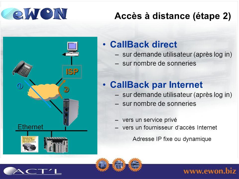 Ethernet ISP Accès à distance (étape 2) CallBack direct –sur demande utilisateur (après log in) –sur nombre de sonneries CallBack par Internet –sur demande utilisateur (après log in) –sur nombre de sonneries –vers un service privé –vers un fournisseur daccès Internet Adresse IP fixe ou dynamique