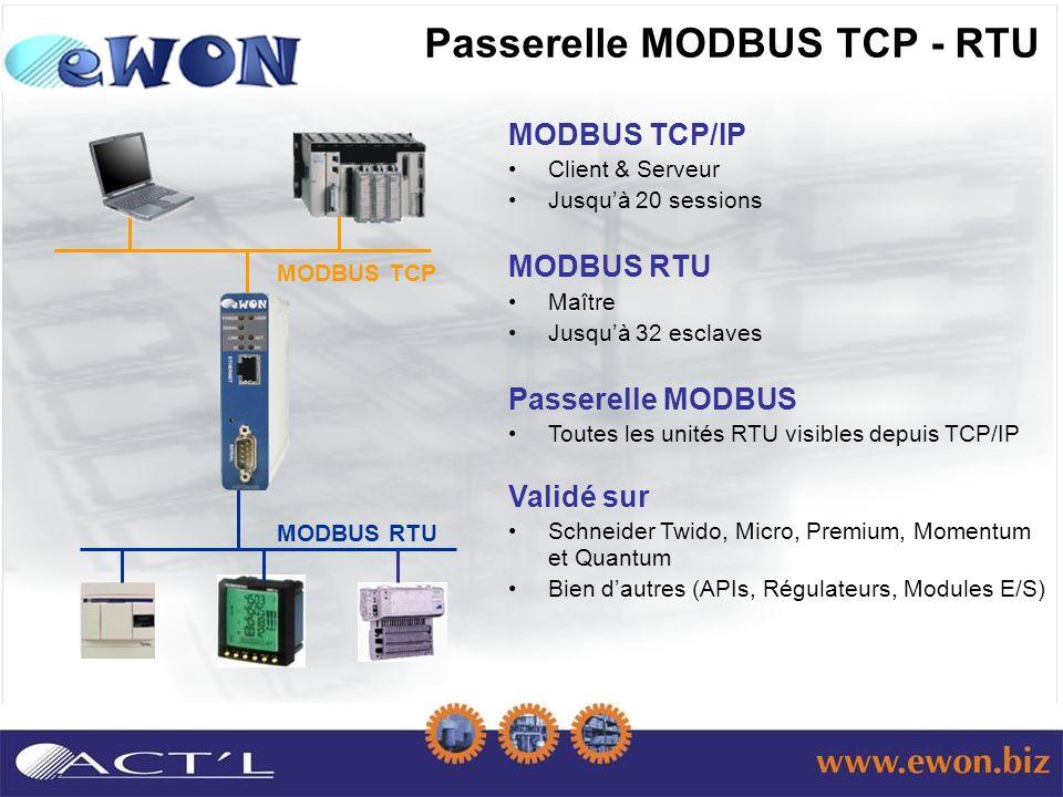 Passerelle MODBUS TCP - RTU MODBUS TCP/IP Client & Serveur Jusquà 20 sessions MODBUS RTU Maître Jusquà 32 esclaves Passerelle MODBUS Toutes les unités RTU visibles depuis TCP/IP Validé sur Schneider Twido, Micro, Premium, Momentum et Quantum Bien dautres (APIs, Régulateurs, Modules E/S) MODBUS RTU MODBUS TCP