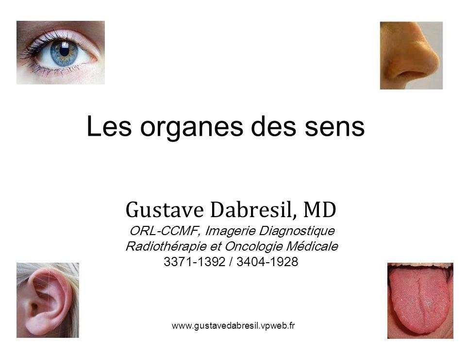 www.gustavedabresil.vpweb.fr Les organes des sens Gustave Dabresil, MD ORL-CCMF, Imagerie Diagnostique Radiothérapie et Oncologie Médicale 3371-1392 / 3404-1928
