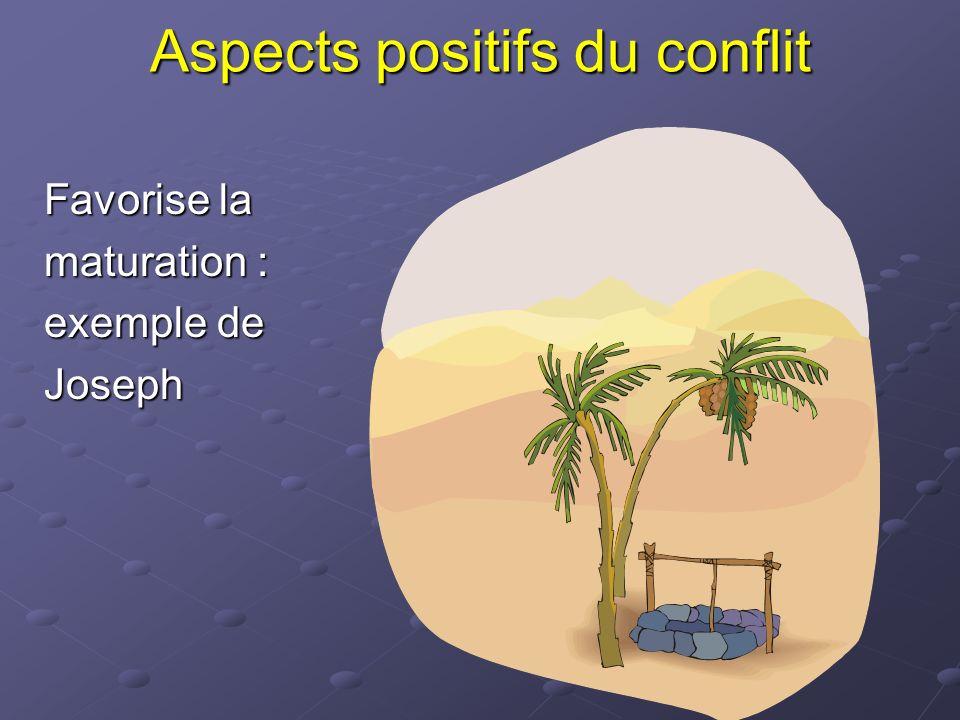 Aspects positifs du conflit Favorise la maturation : exemple de Joseph