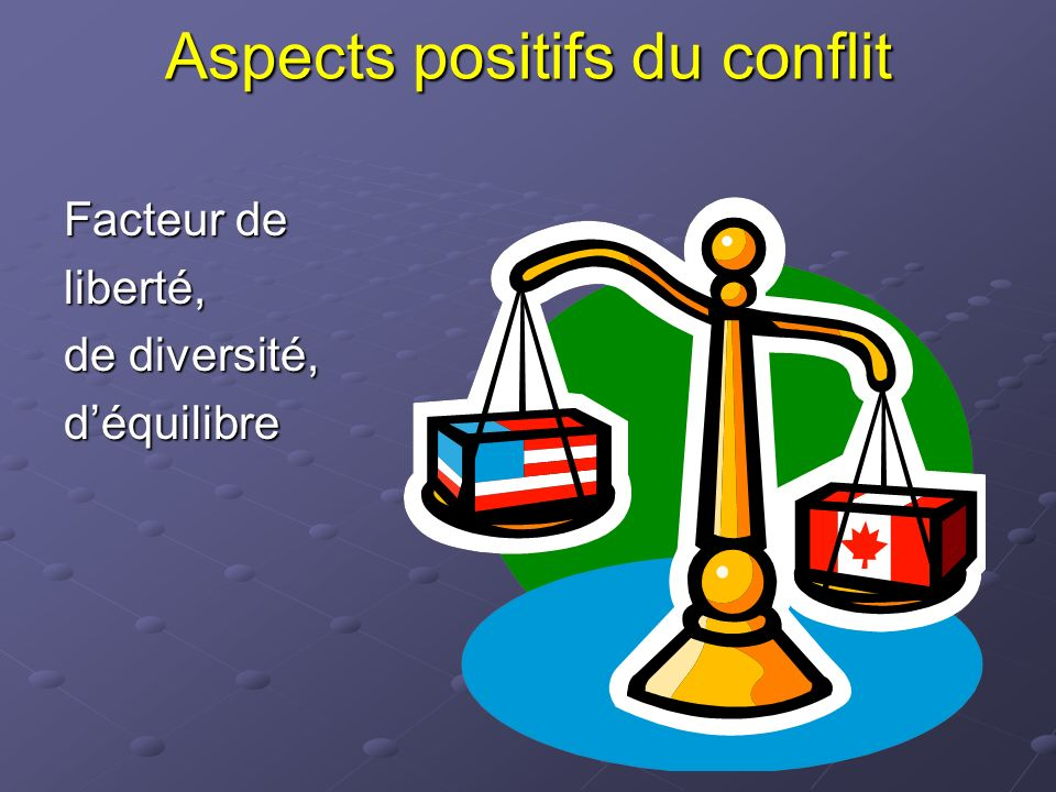 Aspects positifs du conflit Facteur de liberté, de diversité, déquilibre