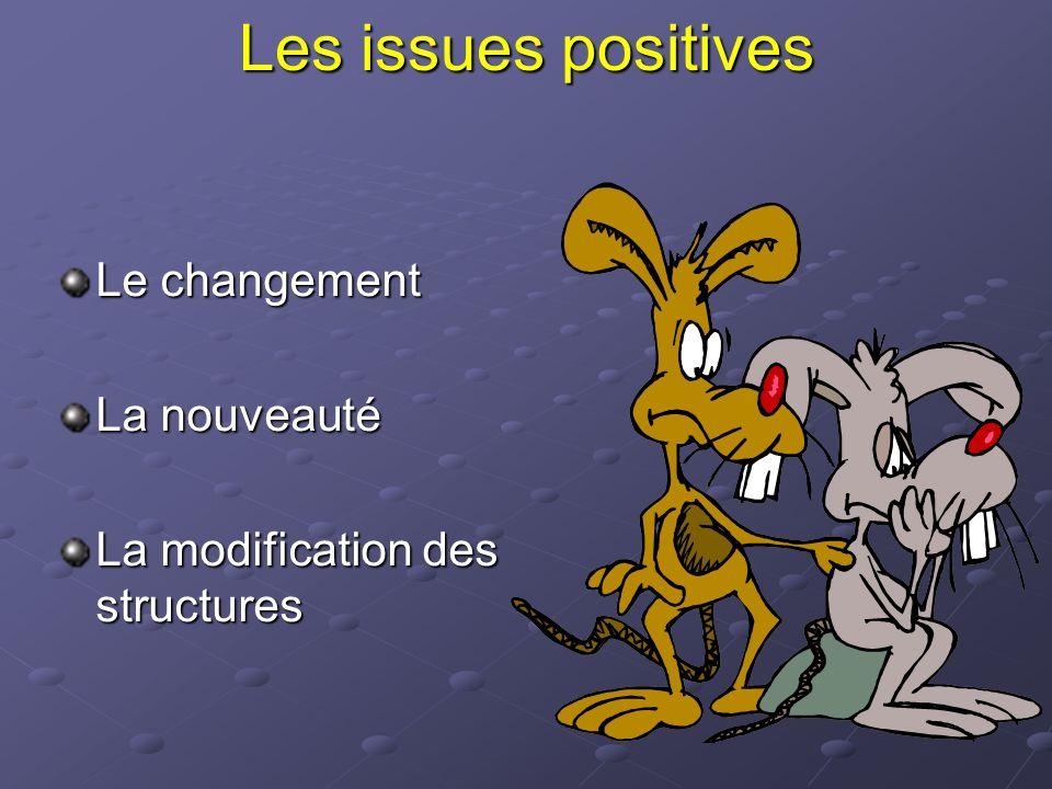 Les issues positives Le changement La nouveauté La modification des structures