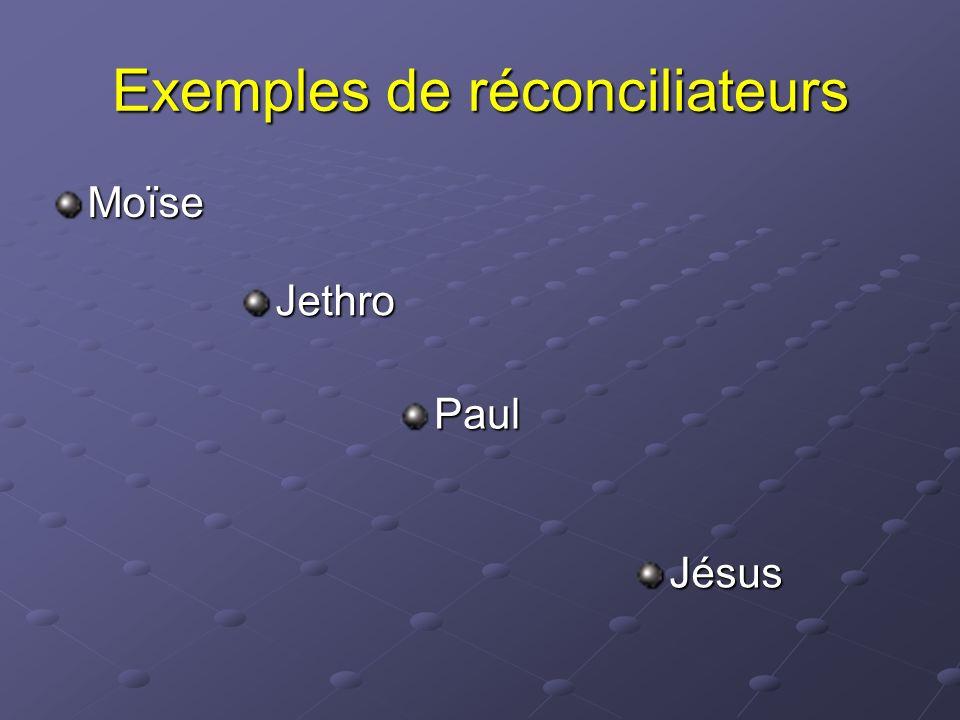 Exemples de réconciliateurs Moïse Jethro Paul Jésus