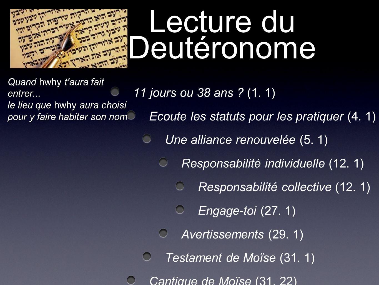 Lecture du Deutéronome 11 jours ou 38 ans ? (1. 1) Ecoute les statuts pour les pratiquer (4. 1) Une alliance renouvelée (5. 1) Responsabilité individu