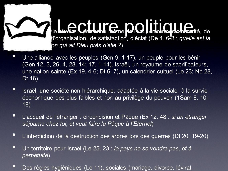 Lecture politique La vie sociale révèle la personne même de Dieu, en termes d'autorité, de sociabilité, d'organisation, de satisfaction, d'éclat (De 4