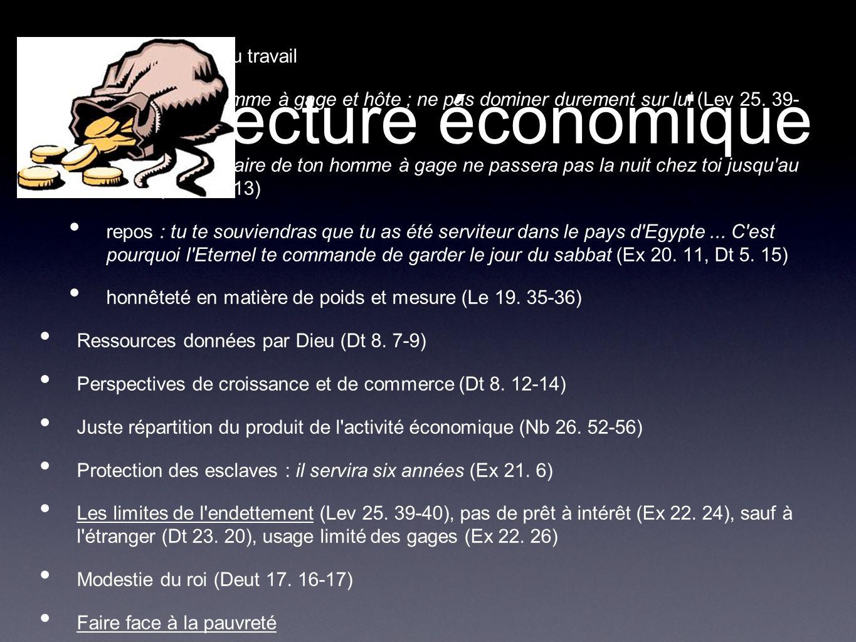 Lecture économique Droits et devoirs du travail conditions : homme à gage et hôte ; ne pas dominer durement sur lui (Lev 25. 39- 40, 43) salaires : le