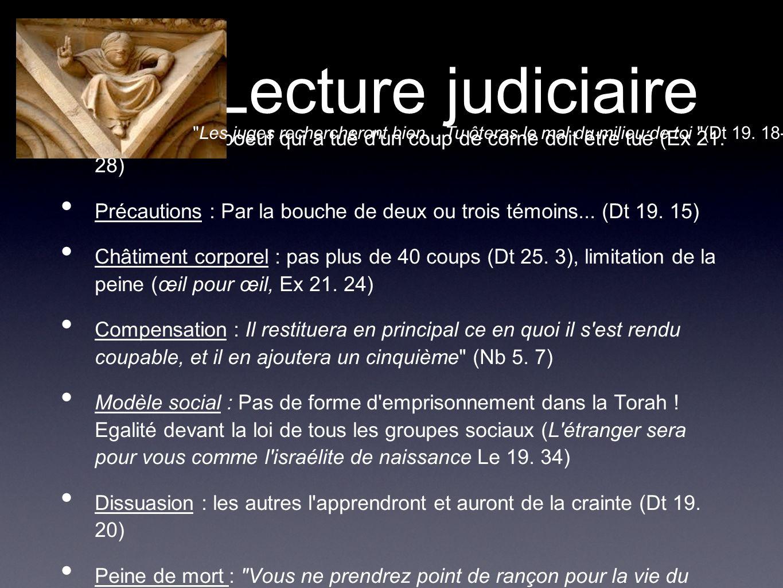 Lecture judiciaire Epuration : le boeuf qui a tué d'un coup de corne doit être tué (Ex 21. 28) Précautions : Par la bouche de deux ou trois témoins...