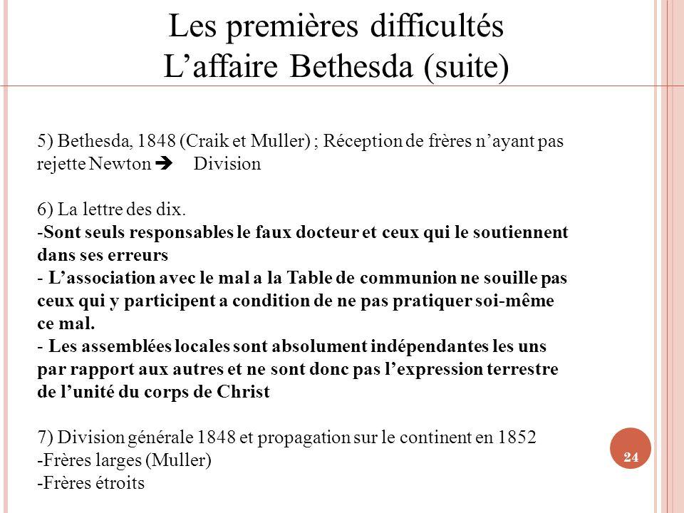 24 Les premières difficultés Laffaire Bethesda (suite) 5) Bethesda, 1848 (Craik et Muller) ; Réception de frères nayant pas rejette Newton Division 6)