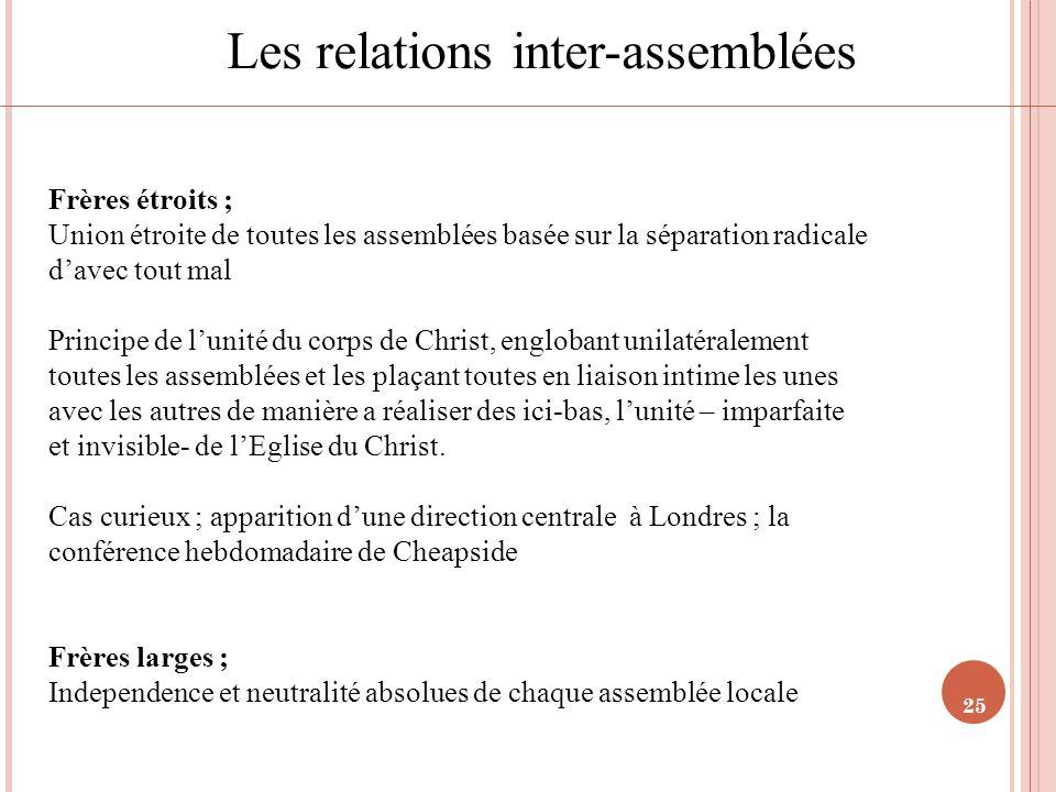 25 Les relations inter-assemblées Frères étroits ; Union étroite de toutes les assemblées basée sur la séparation radicale davec tout mal Principe de