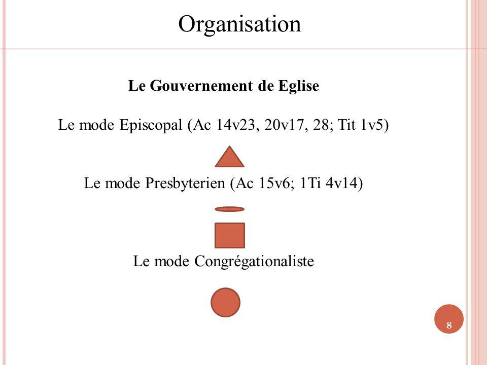 8 Organisation Le Gouvernement de Eglise Le mode Episcopal (Ac 14v23, 20v17, 28; Tit 1v5) Le mode Presbyterien (Ac 15v6; 1Ti 4v14) Le mode Congrégatio