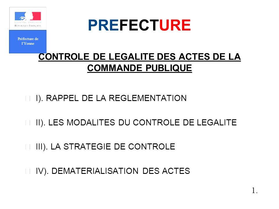 PREFECTURE CONTROLE DE LEGALITE DES ACTES DE LA COMMANDE PUBLIQUE I).