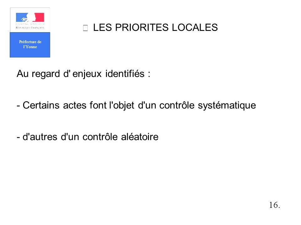 LES PRIORITES LOCALES Au regard d enjeux identifiés : - Certains actes font l objet d un contrôle systématique - d autres d un contrôle aléatoire 16.
