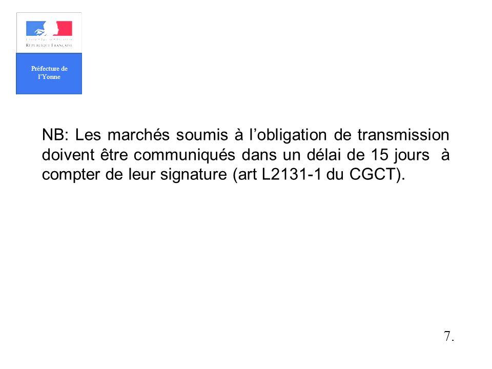 NB: Les marchés soumis à lobligation de transmission doivent être communiqués dans un délai de 15 jours à compter de leur signature (art L2131-1 du CGCT).