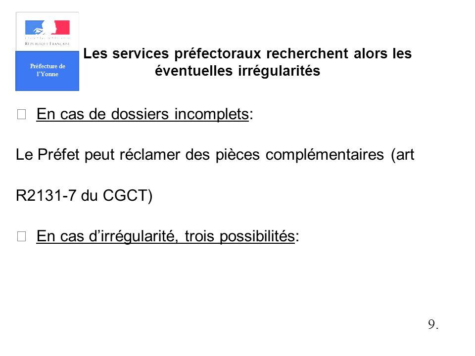 En cas de dossiers incomplets: Le Préfet peut réclamer des pièces complémentaires (art R2131-7 du CGCT) En cas dirrégularité, trois possibilités: 9.