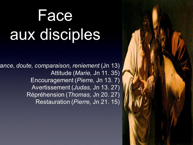 Face aux disciples Ignorance, doute, comparaison, reniement (Jn 13) Attitude (Marie, Jn 11. 35) Encouragement (Pierre, Jn 13. 7) Avertissement (Judas,