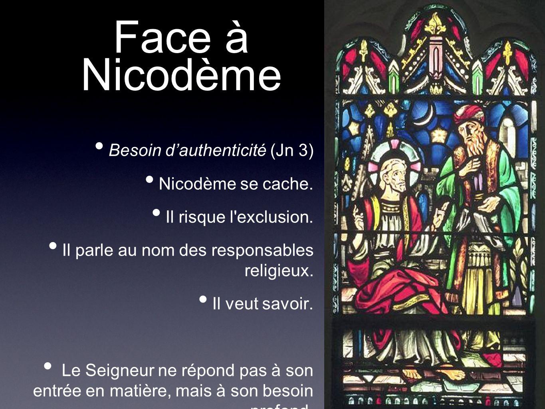 Face à Nicodème Besoin dauthenticité (Jn 3) Nicodème se cache. Il risque l'exclusion. Il parle au nom des responsables religieux. Il veut savoir. Le S