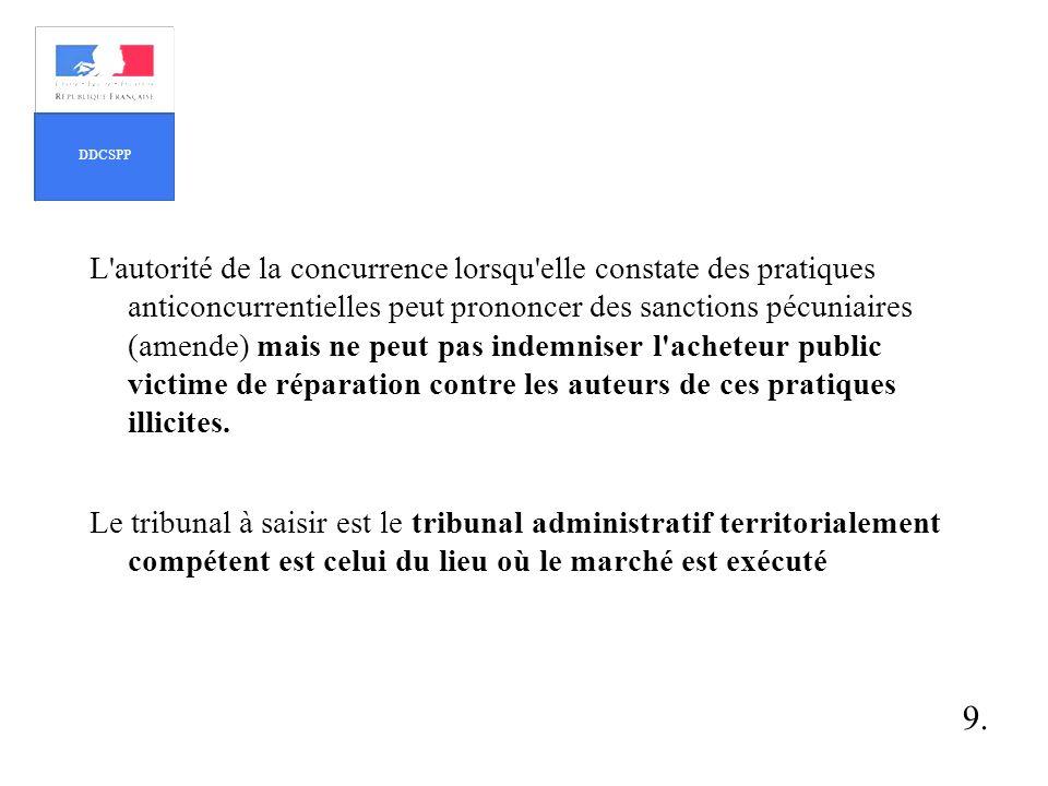 L'autorité de la concurrence lorsqu'elle constate des pratiques anticoncurrentielles peut prononcer des sanctions pécuniaires (amende) mais ne peut pa