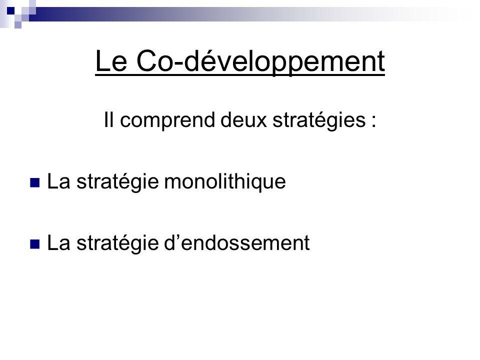Il comprend deux stratégies : La stratégie monolithique La stratégie dendossement Le Co-développement