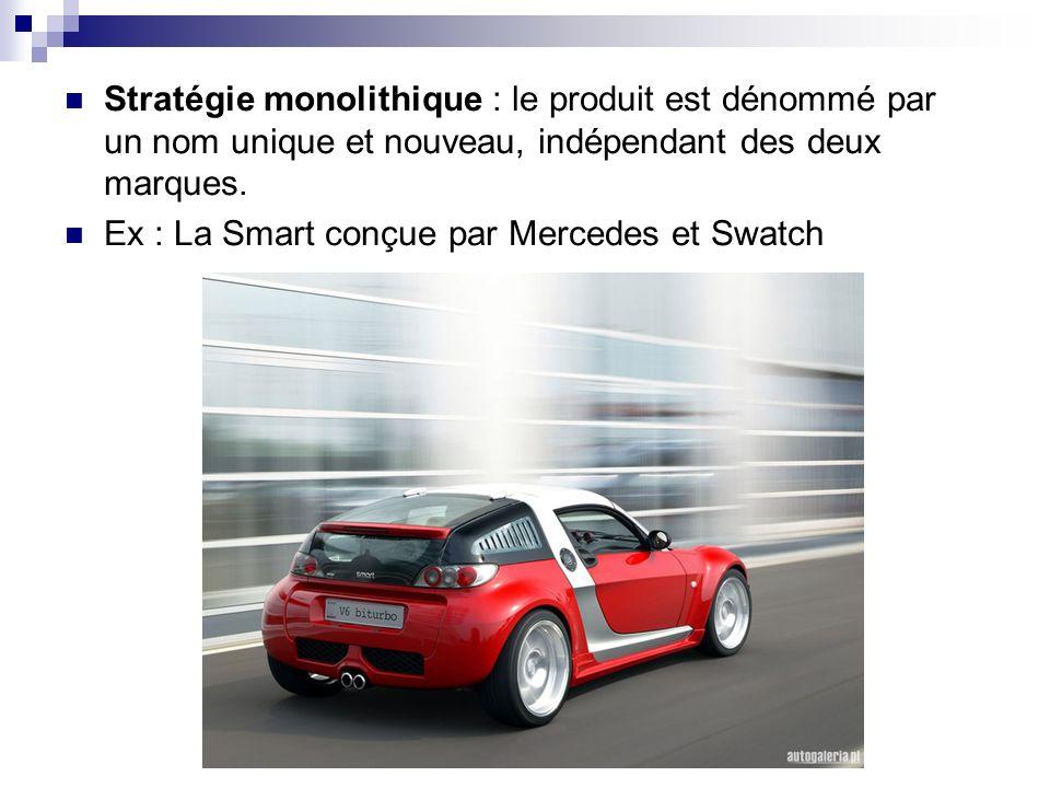 Stratégie monolithique : le produit est dénommé par un nom unique et nouveau, indépendant des deux marques. Ex : La Smart conçue par Mercedes et Swatc