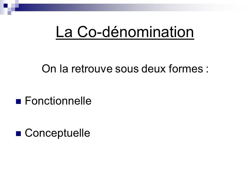 La Co-dénomination On la retrouve sous deux formes : Fonctionnelle Conceptuelle