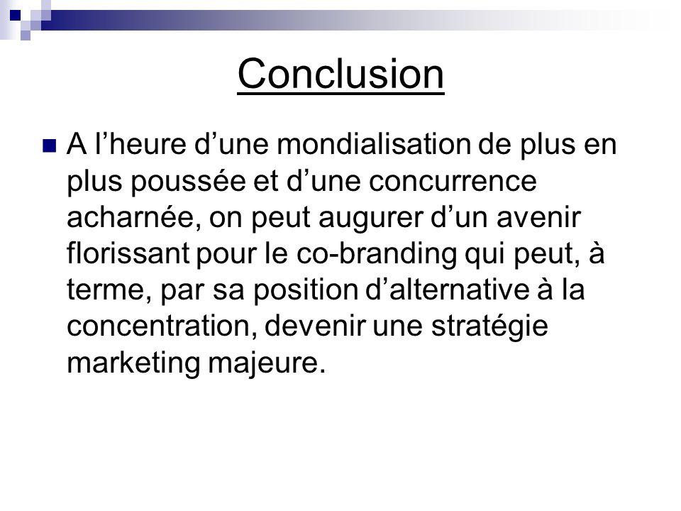 Conclusion A lheure dune mondialisation de plus en plus poussée et dune concurrence acharnée, on peut augurer dun avenir florissant pour le co-brandin