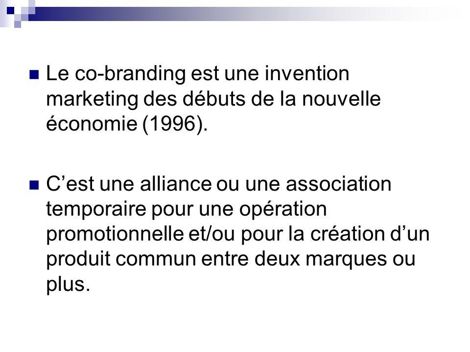 Le co-branding est une invention marketing des débuts de la nouvelle économie (1996). Cest une alliance ou une association temporaire pour une opérati
