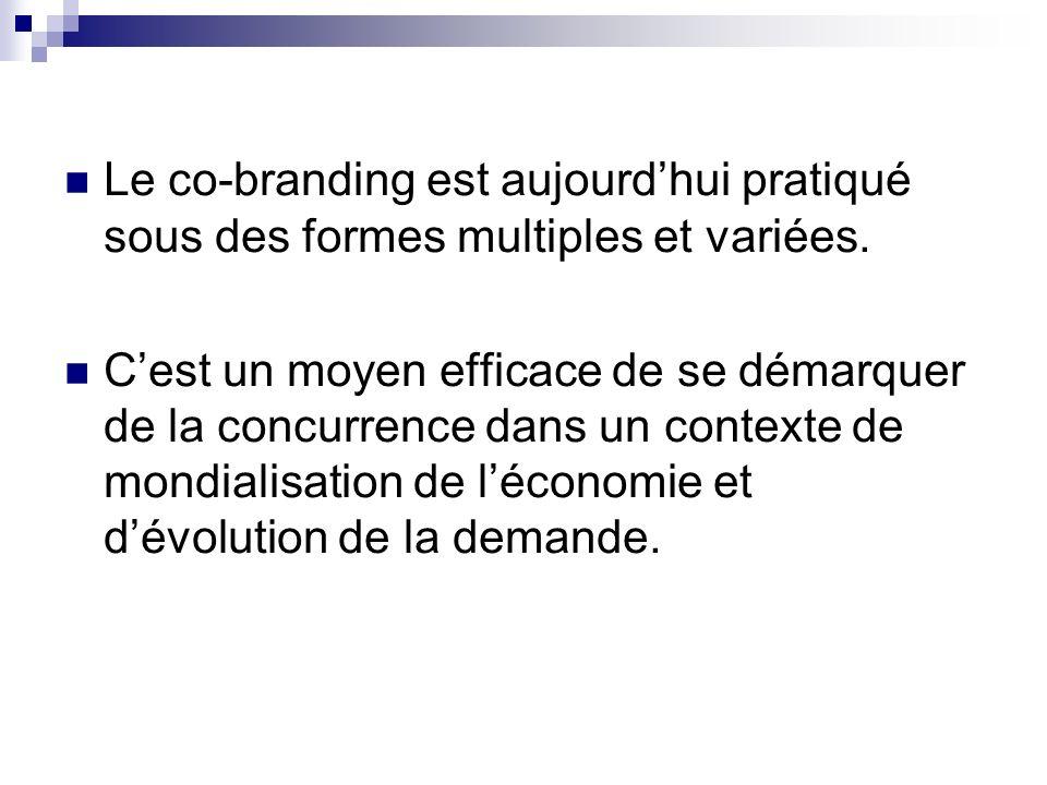 Le co-branding est aujourdhui pratiqué sous des formes multiples et variées. Cest un moyen efficace de se démarquer de la concurrence dans un contexte