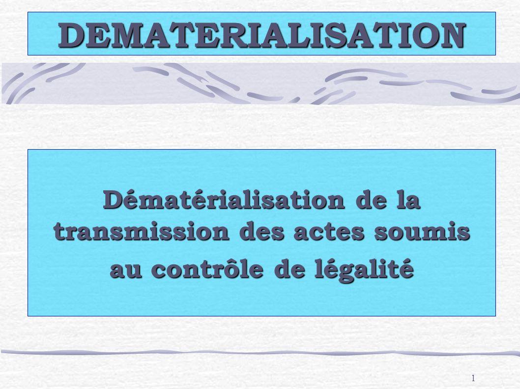 1 DEMATERIALISATION Dématérialisation de la transmission des actes soumis au contrôle de légalité