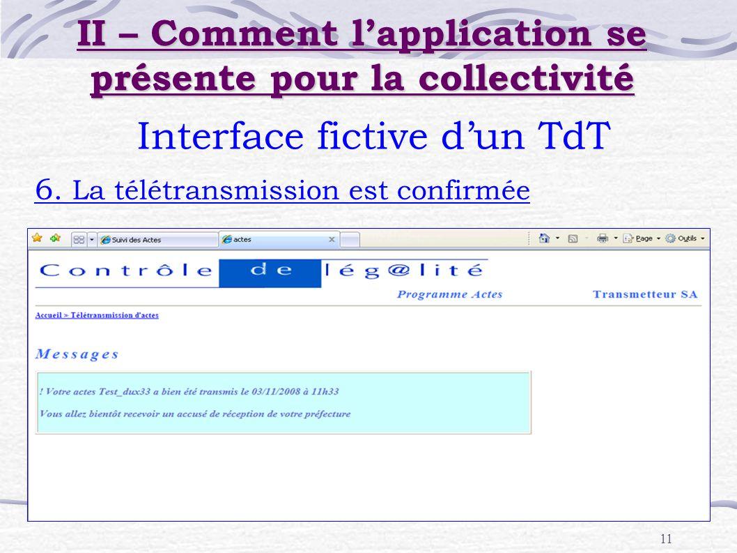 11 Interface fictive dun TdT 6. La télétransmission est confirmée II – Comment lapplication se présente pour la collectivité