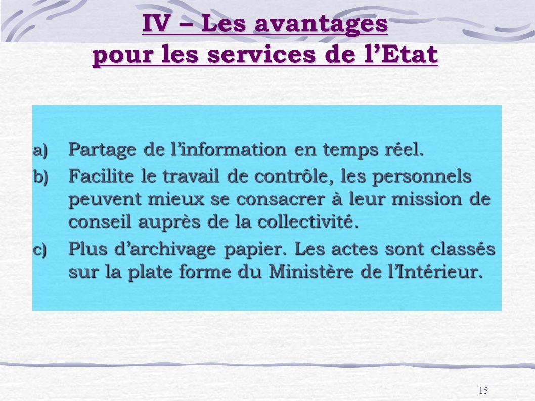 15 a) Partage de linformation en temps réel. b) Facilite le travail de contrôle, les personnels peuvent mieux se consacrer à leur mission de conseil a