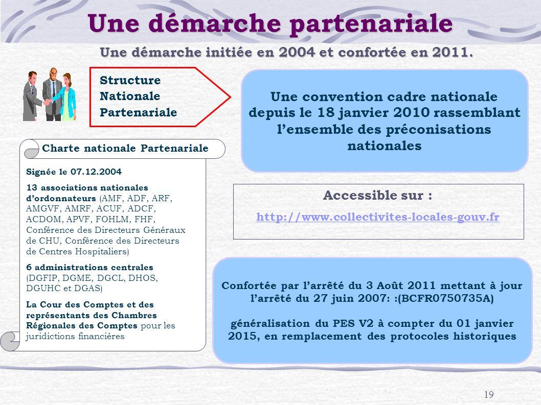19 Une démarche partenariale Confortée par larrêté du 3 Août 2011 mettant à jour larrêté du 27 juin 2007: :(BCFR0750735A) généralisation du PES V2 à c
