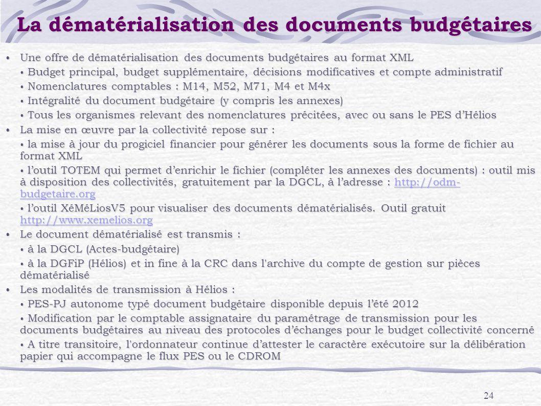 24 La dématérialisation des documents budgétaires Une offre de dématérialisation des documents budgétaires au format XML Une offre de dématérialisatio