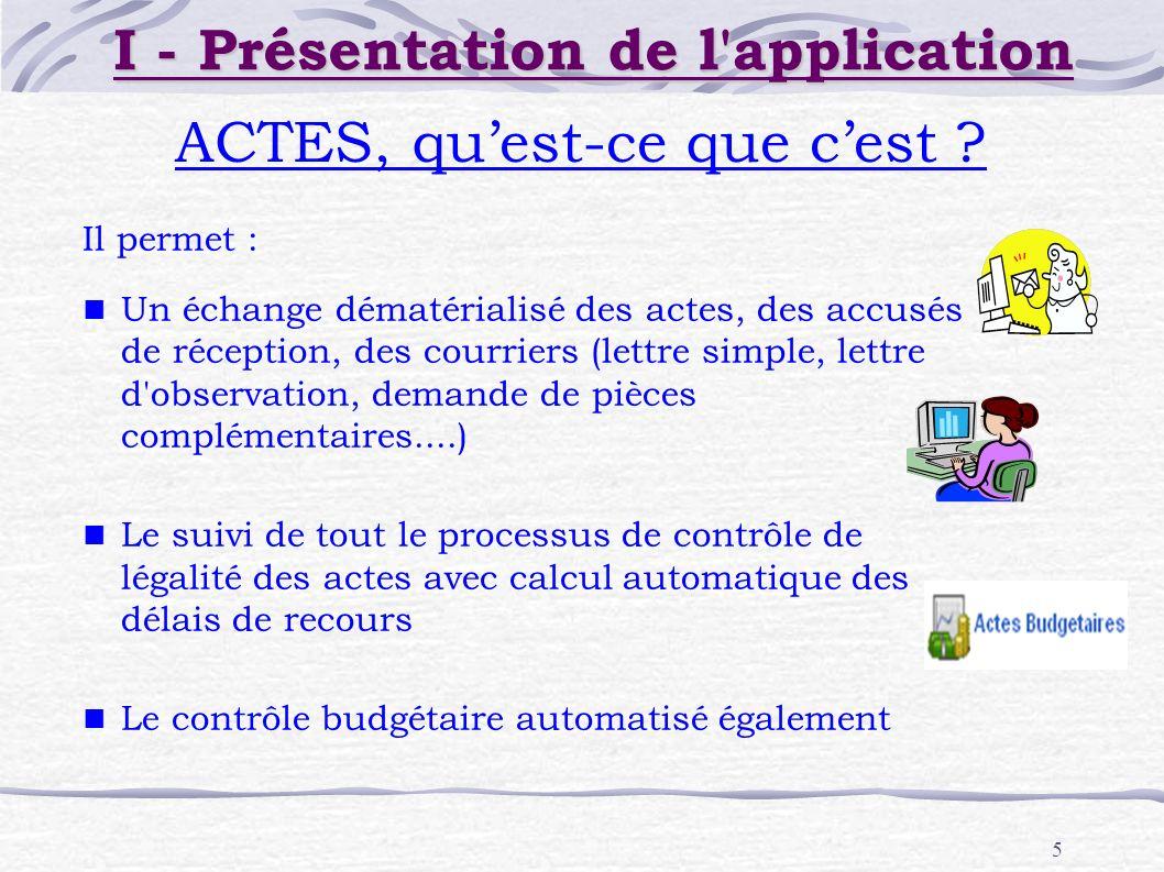 5 ACTES, quest-ce que cest ? I - Présentation de l'application Il permet : Un échange dématérialisé des actes, des accusés de réception, des courriers