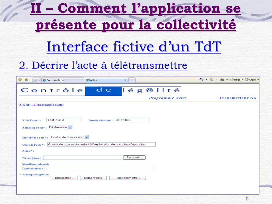 8 Interface fictive dun TdT 2. Décrire lacte à télétransmettre