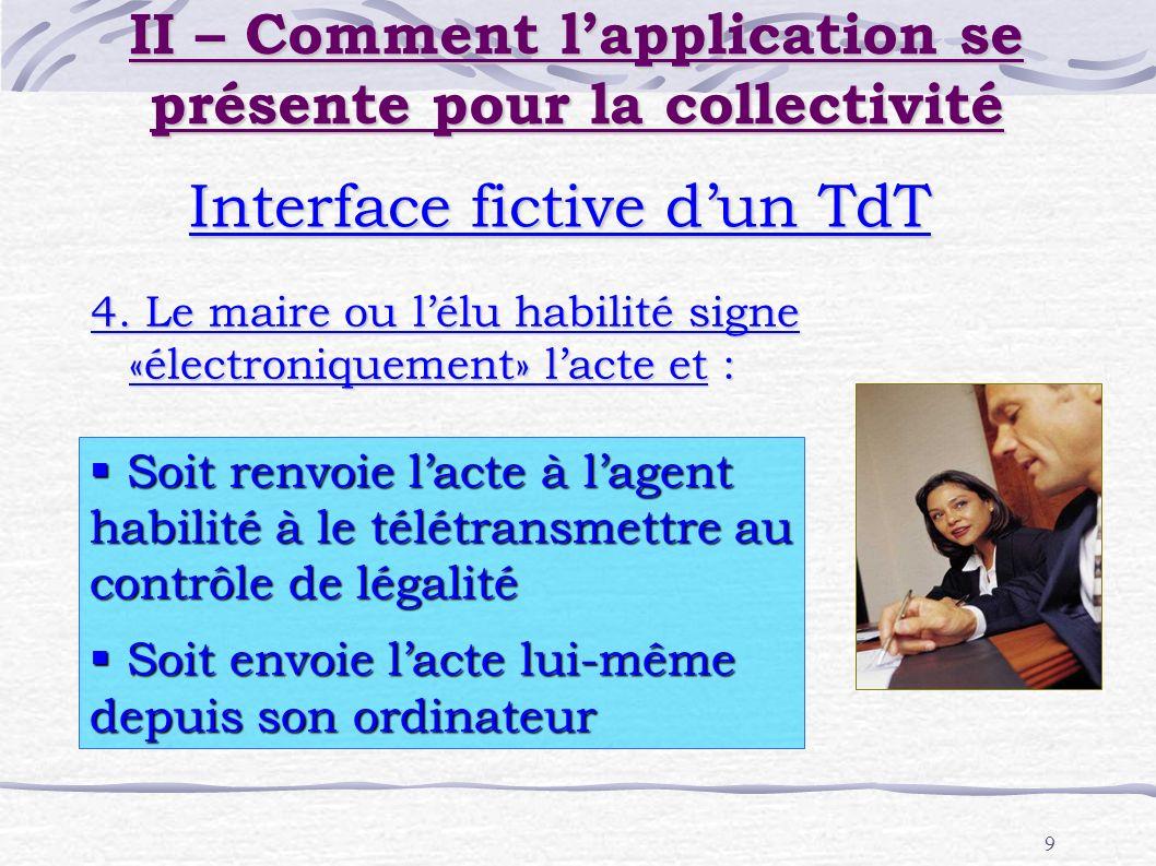 9 Interface fictive dun TdT 4. Le maire ou lélu habilité signe «électroniquement» lacte et : Soit renvoie lacte à lagent habilité à le télétransmettre