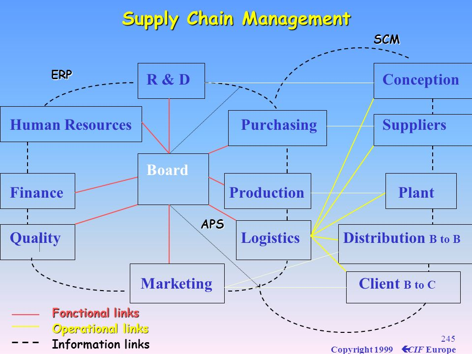 244 Copyright 1999 ç CIF Europe Ideal Position of the logistics function to face the challenge Ideal Position of the logistics function to face the ch