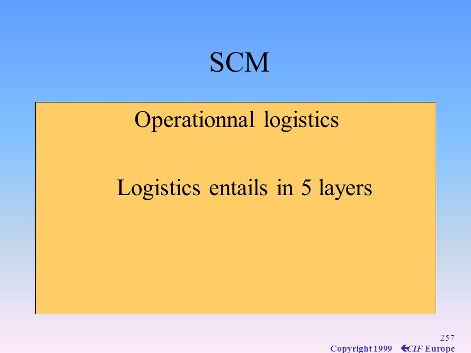 256 Copyright 1999 ç CIF Europe Business Logistics defined scope and content Customer service standards set the level of output and degree of readines
