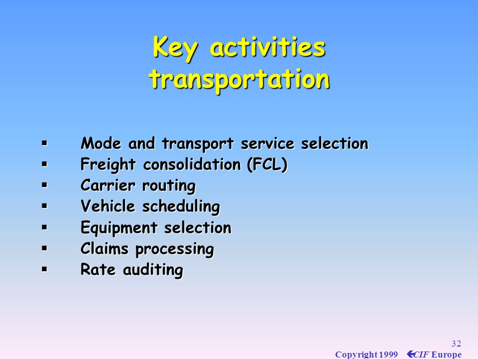 31 Copyright 1999 ç CIF Europe GONDRAND operational approach : carriage, customs, warehousing Import and export procedures. Free Practice process : cu
